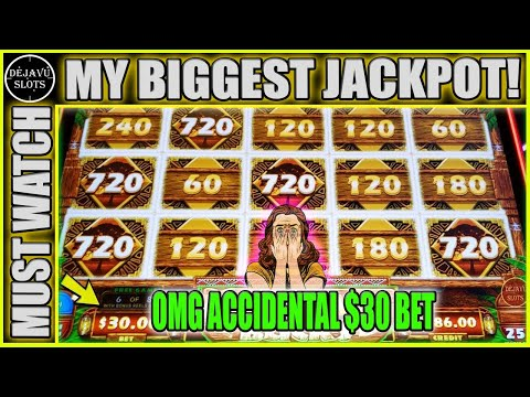 ACCIDENTAL $30 MAX BET PAYS OFF! MY BIGGEST JACKPOT ON MIGHTY CASH OUTBACK BUCKS