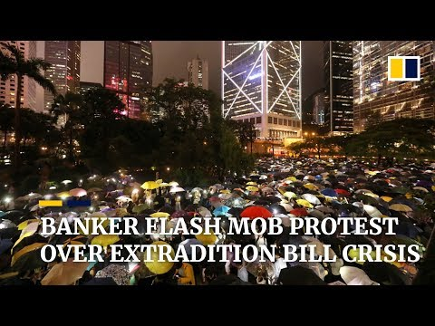 Bankers stage flash mob protest against Hong Kong government's handling of extradition bill crisis