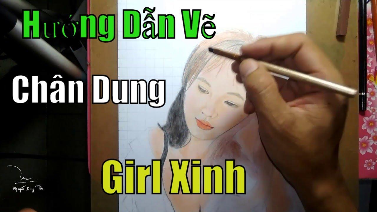Hướng Dẫn Vẽ Chân Dung Girl Xinh Bằng Chì Màu Và Phấn Tiên | NDT Art Drawing