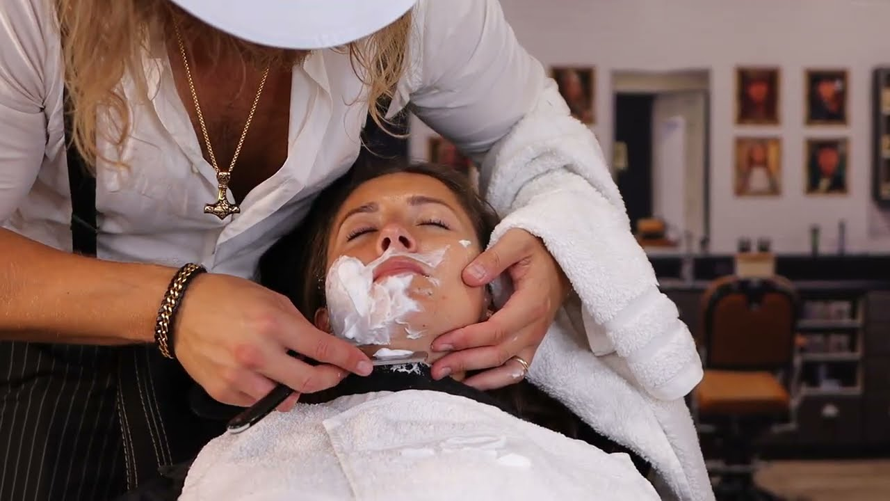My Wife Visits the Rude English Barbershop (Wet Towel Shave) ASMR🪒💈