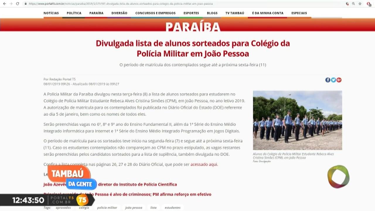 0dd7767926 Divulgada lista de alunos sorteados para Colégio da Polícia Militar em JP |  Tambaú da Gente - Portal T5