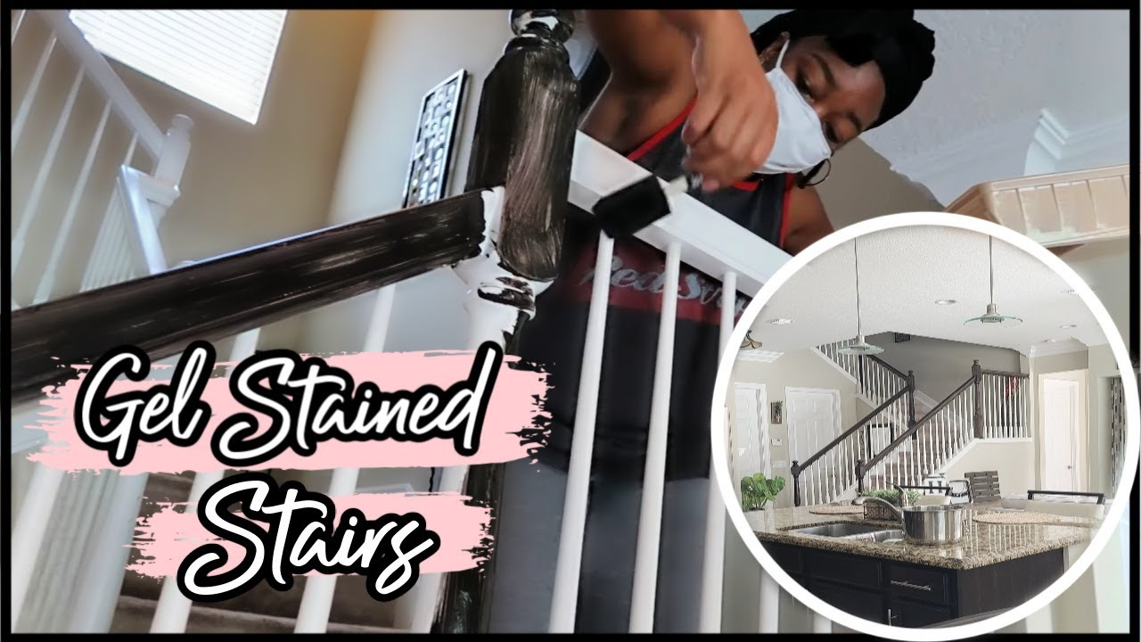 DIY STAIRCASE MAKEOVER | GEL STAIN BANISTER MAKEOVER - YouTube