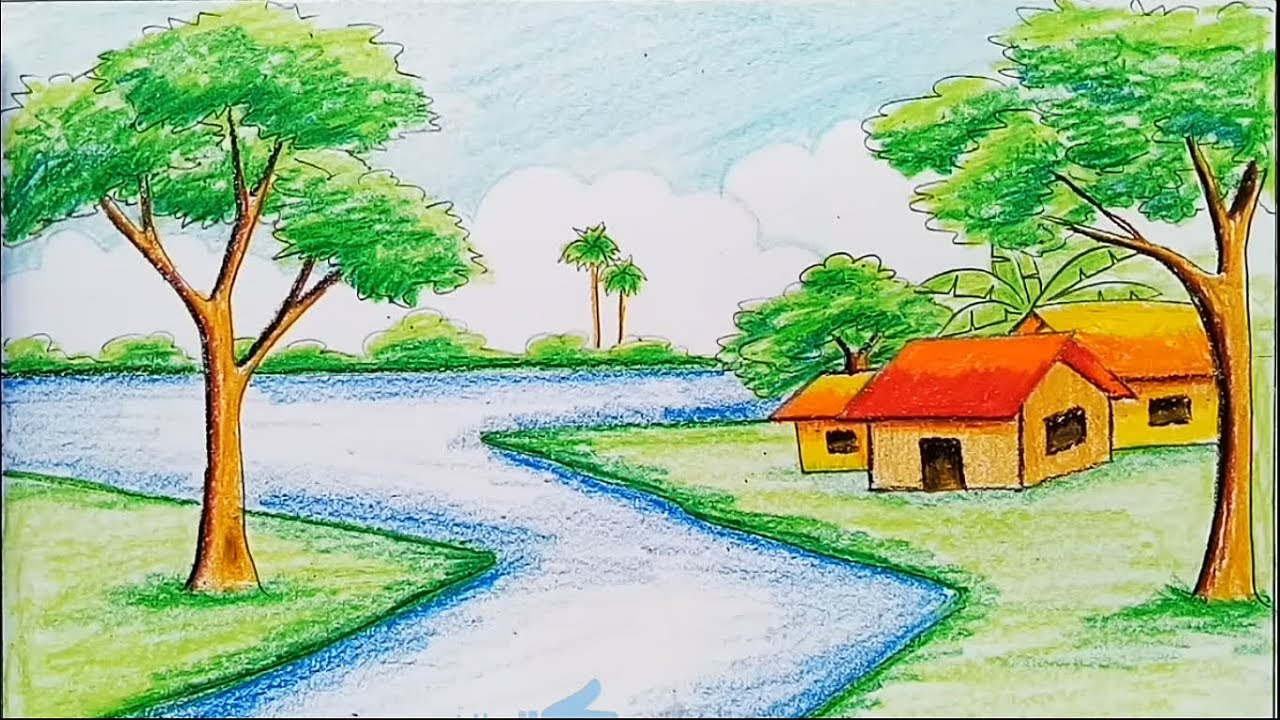 How to draw a landscape with diamond color pencil