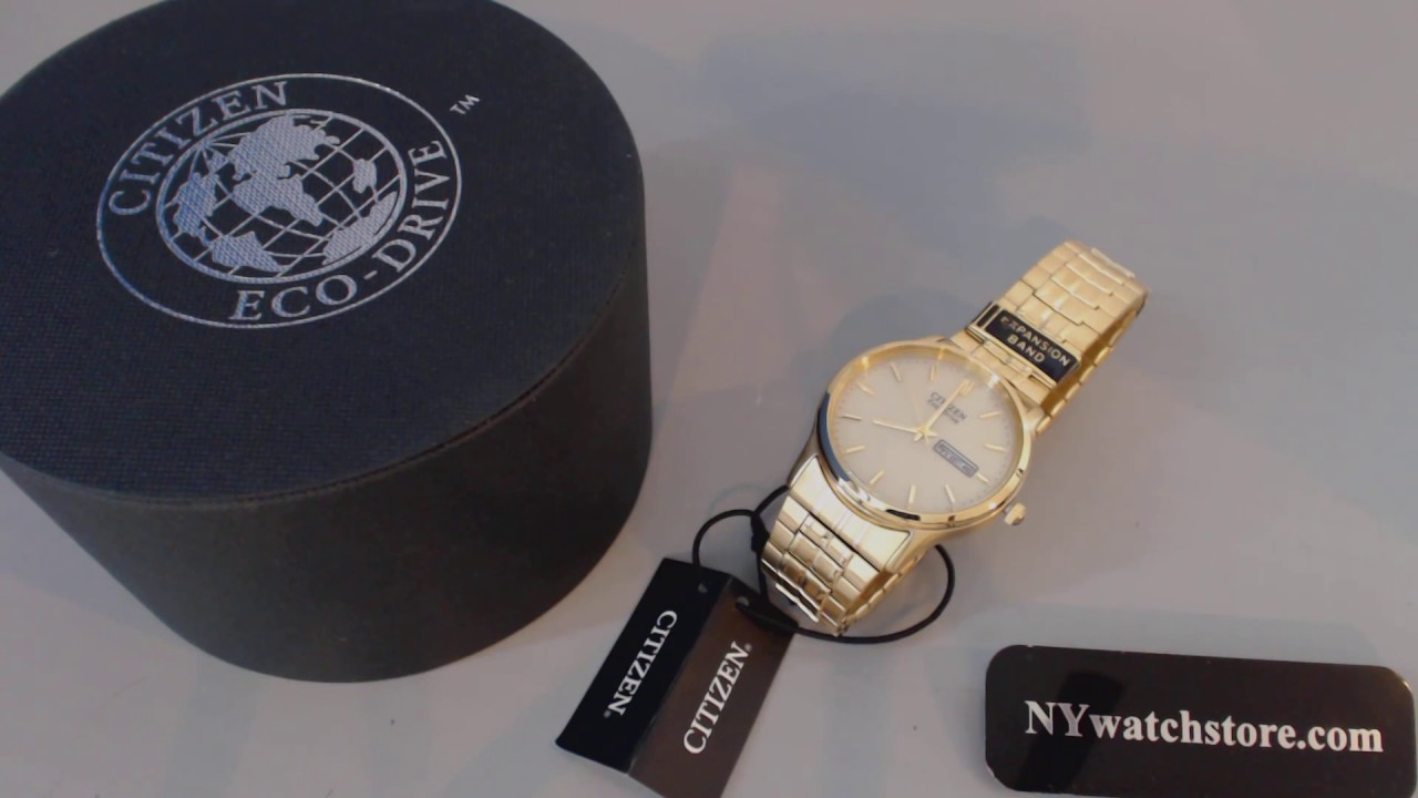 Men S Gold Tone Citizen Eco Drive Steel Dress Watch Bm8452 99p