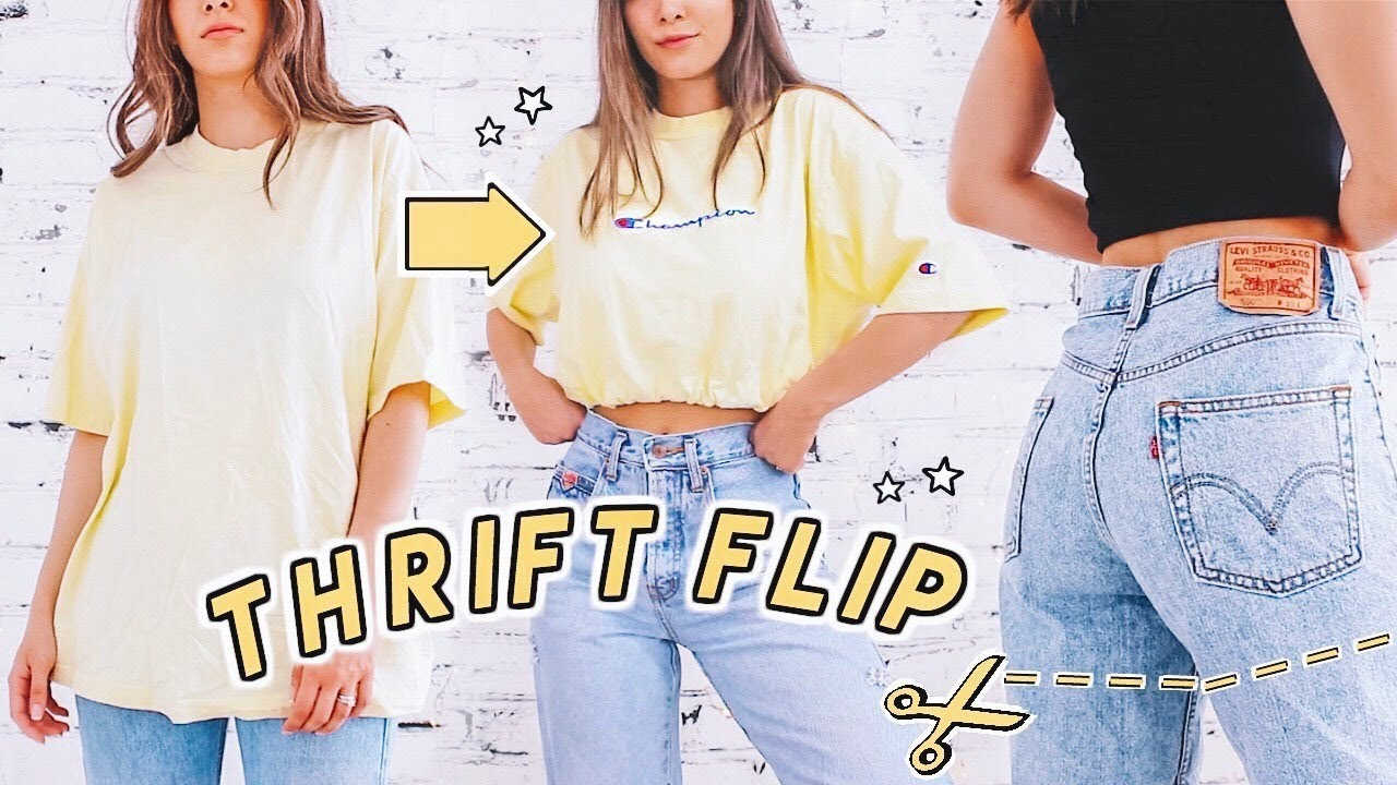 12 SUMMER THRIFT FLIPS ☆ jeans to shorts, cropped tops, patches + more diys! 7
