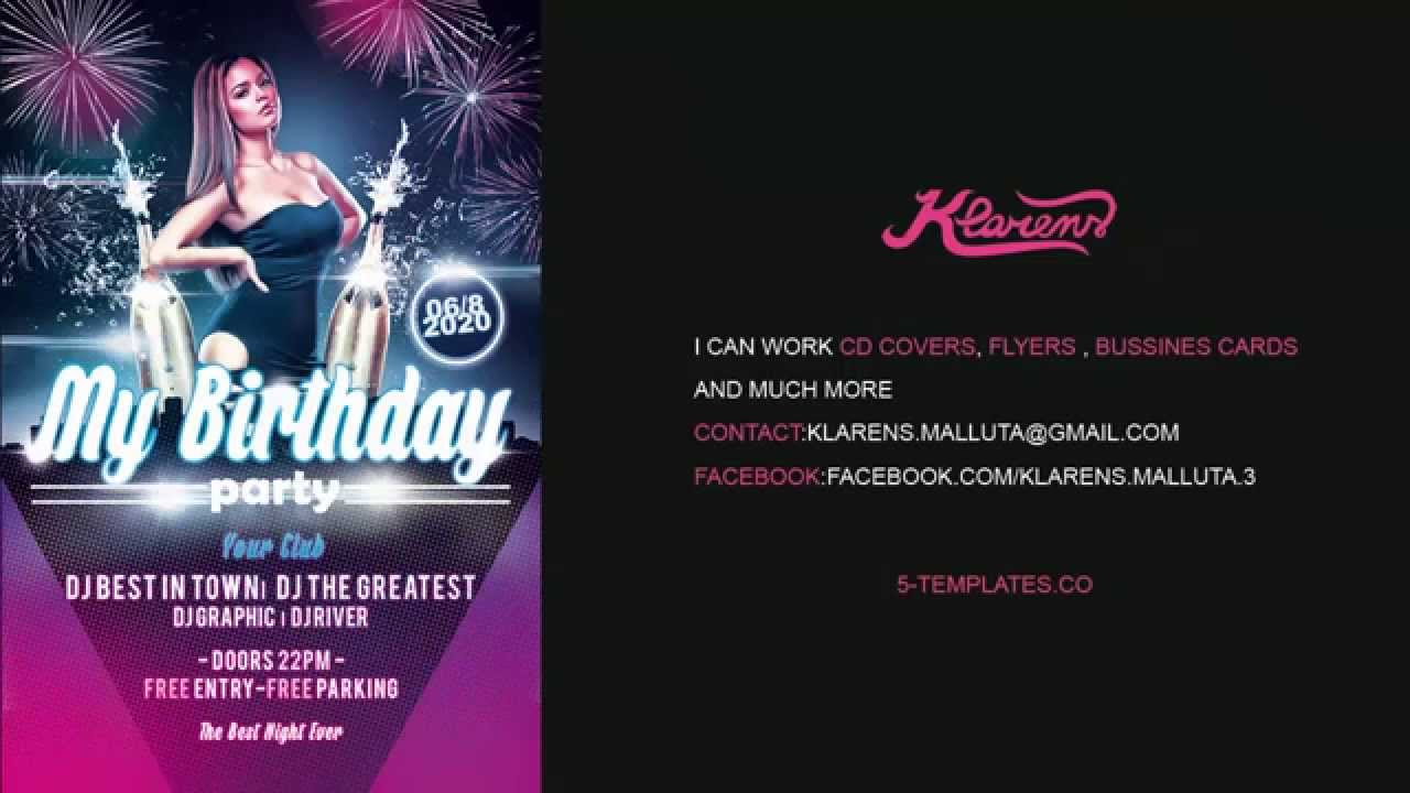 My Birthday Party Flyer FREE PSD Template - YouTube