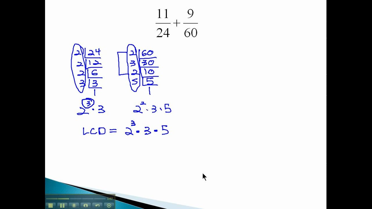 Add And Subtract Fractions  With Different Large Denominators