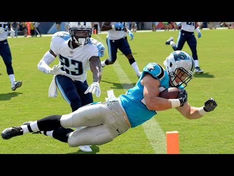 Christian McCaffrey celebrates his first NFL Touchdown