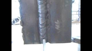 Сварка толстых пластин с разделкой кромок (вертикальное положение)(В продолжении видео по сварке пластин под ультразвук, варим в вертикальном положении., 2015-08-12T15:13:40.000Z)