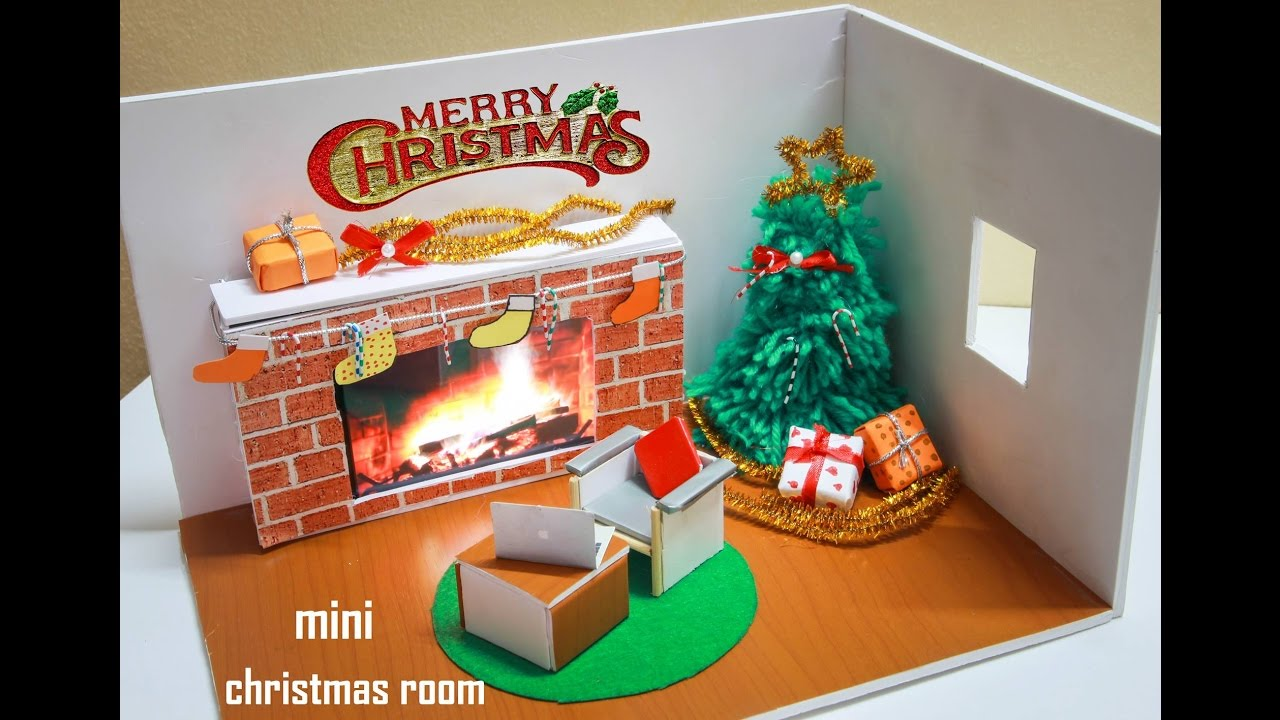 Miniature Children S Bedroom Room Box Diorama: Diorama Miniature Christmas Rooms