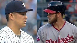 WSH@NYY: Tanaka wins 10-pitch at-bat vs. Harper