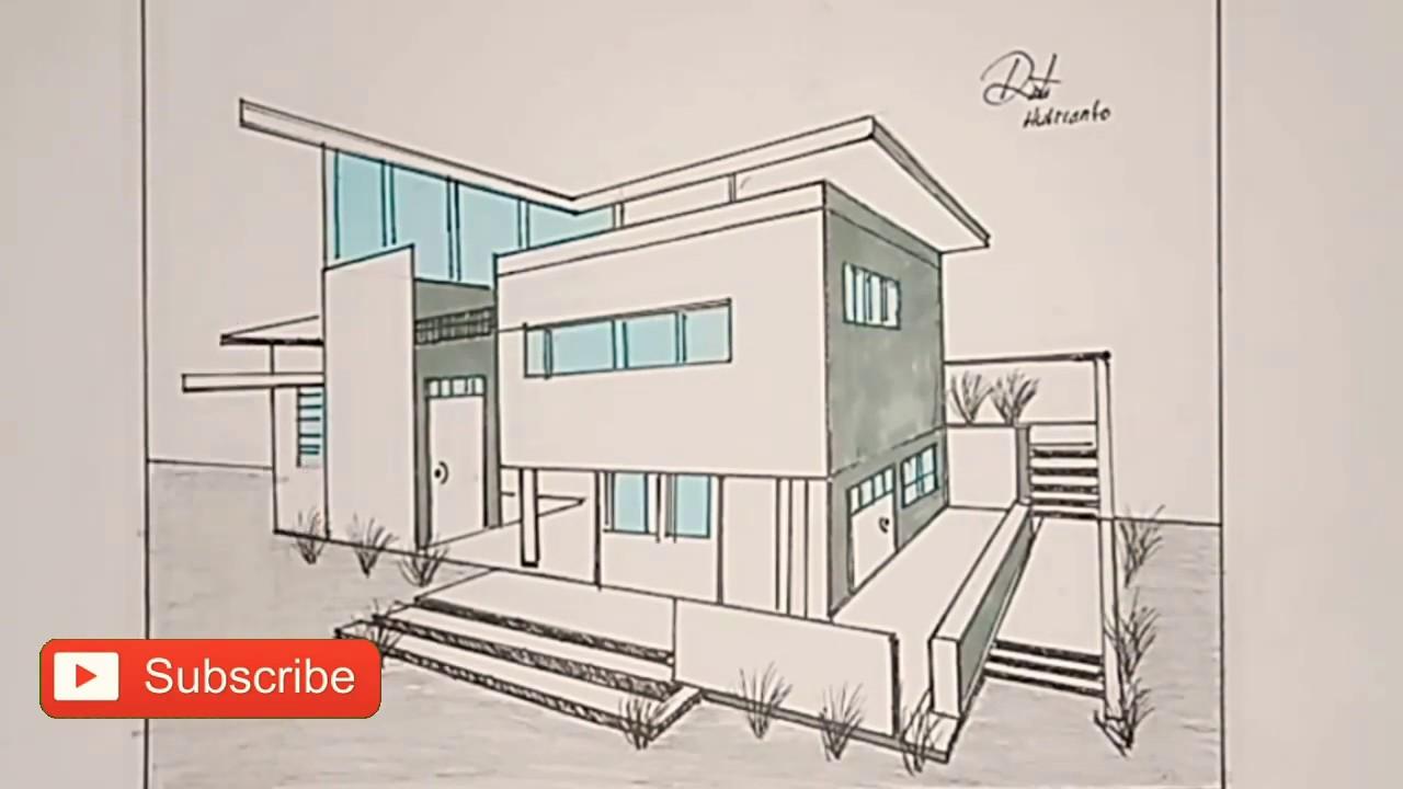 Cara Menggambar Rumah Minimalis Dengan Perspektif 2 Titik Hilang Gambar Teknik Youtube