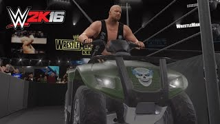 WWE 2K16: Stone Cold ATV Entrance + Disturbed Theme! (Wrestlemania XIX Arena)