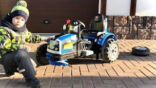Трактор сломался Отвалилось колесо  Малыш ремонтирует Сломанный Трактор