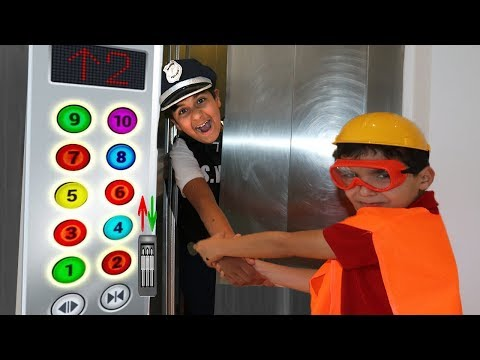 Elevator and police , pretend play funny videos for kids