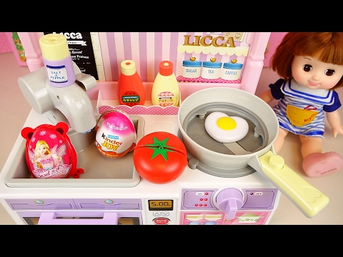 Thumbnail: Baby doll kitchen and Kinder Joy Surprise eggs toys play
