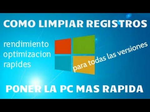 Como limpiar registros y poner la pc mas rapido windows 7 8 10 xp youtube - Como limpiar rapido ...