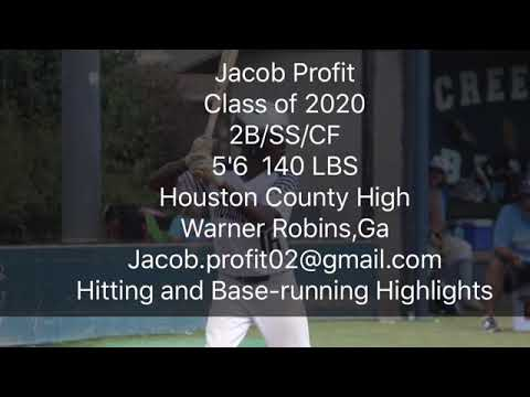 Jacob Profit, Houston County High, GA 2018 High School/Travel Ball Hitting/base-running Highlights