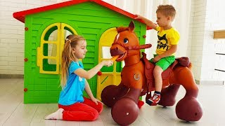 Max and Ulya Pretend Play with Horse Toy