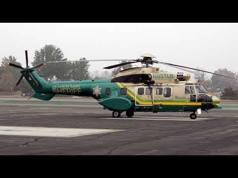 Engine Start Up & Takeoff AS332 Super Puma LA County Sheriff N951LB
