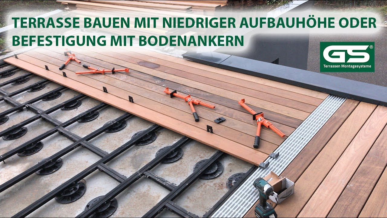 Terrassen selber bauen mit Alu Unterkonstruktion für niedrige Aufbauhöhen