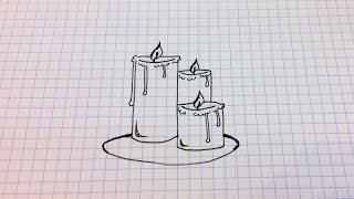 Простые рисунки #123 Как нарисовать Свечи(Как нарисовать простой рисунок обычной гелевой ручкой за несколько минут. Спасибо, что смотрите мои видео...., 2014-09-03T05:00:01.000Z)