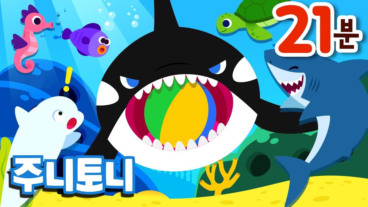 바다 동물동요 모음집 | 여름 베스트 인기동요 | 바닷속 친구들이 모두 모였어요! | 백상아리, 해파리, 범고래, 상어가족 | 동물송 | 바다동물동요 | 주니토니 by 키즈캐슬