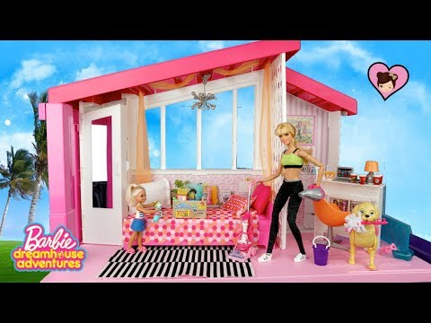 Barbie Dreamhouse Adventures Morning Cleaning Routine - Garage SALE!