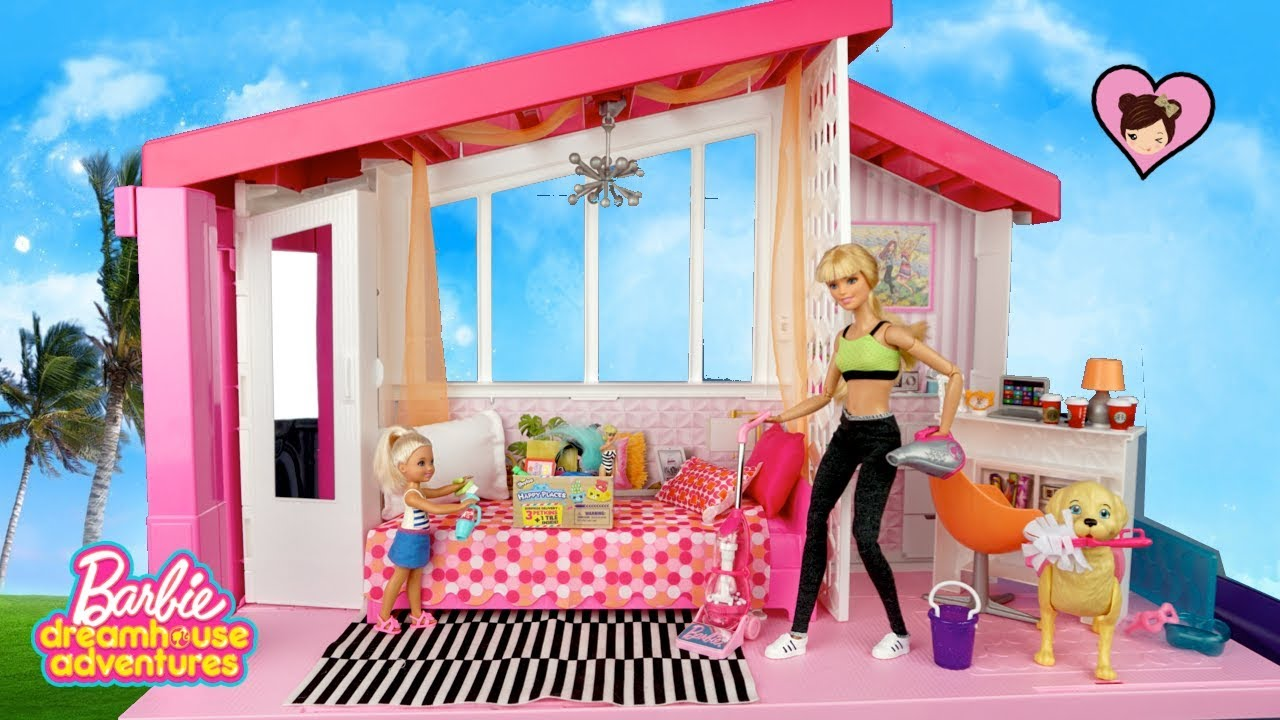 Barbie Dreamhouse Adventures Morning Cleaning Routine  Garage SALE  YouTube
