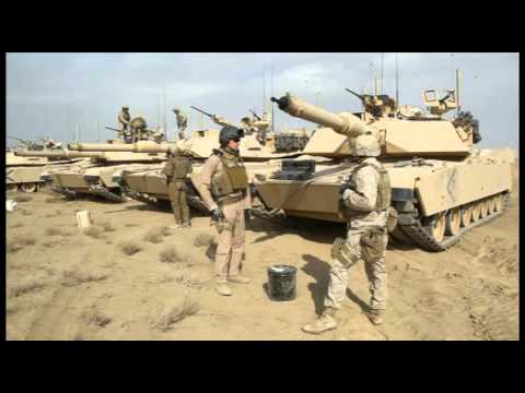 M1A1 Abrams US Marines Corp main battle Tank Firing in Afghanistan ...