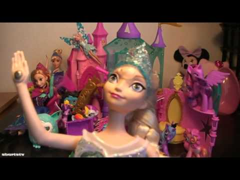 Disney Frozen Musical Magic Elsa Dolls Toys for Girls Frozen with MLP Pony Crystal Castle Playsets