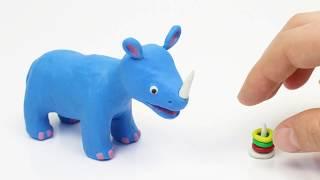 Creating a rhinoceros 💕Superhero Play Doh Stop motion cartoons
