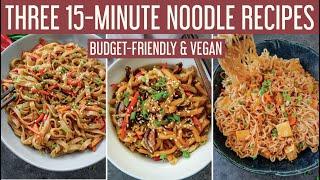 THREE TASTY 15-MINUTE NOODLE RECIPES  Easy &amp budget-friendly vegan quarantine meals