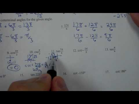 Honors Math 2 Spring Final Review Trig Portion 7B 7C