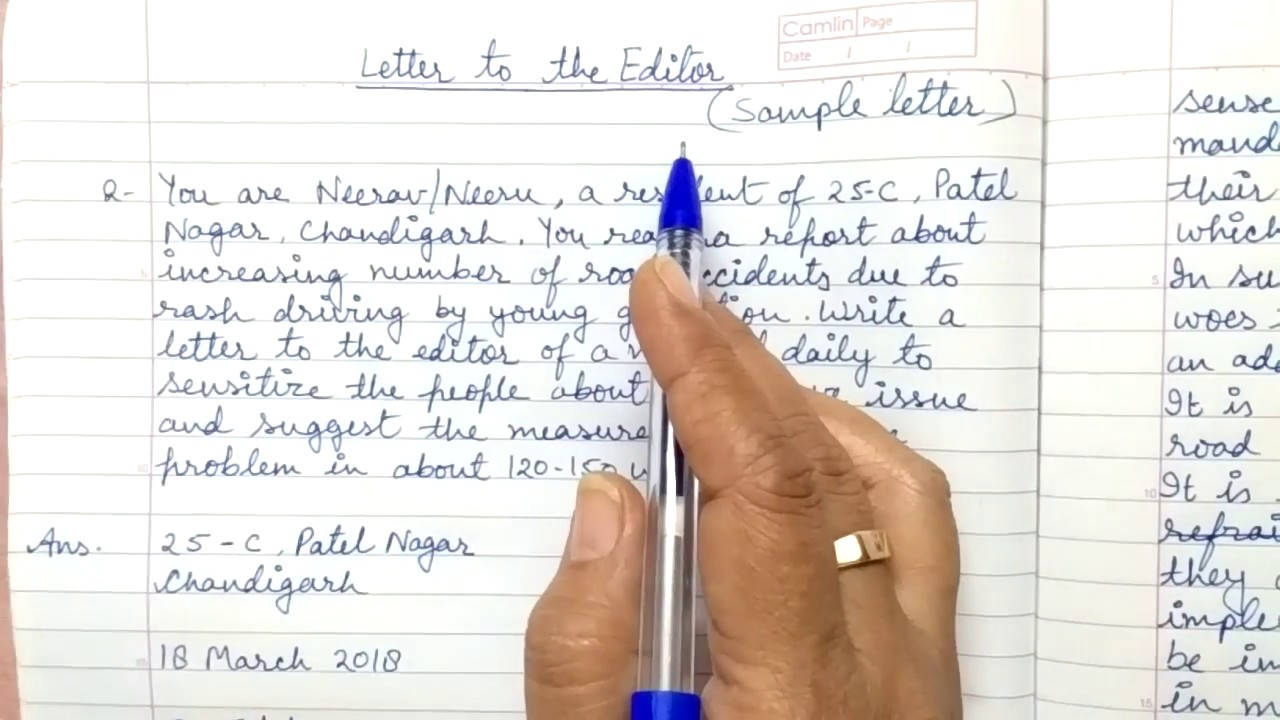 Letter To The Editor For Class 10 11 12 Cbse Part 2 Format And