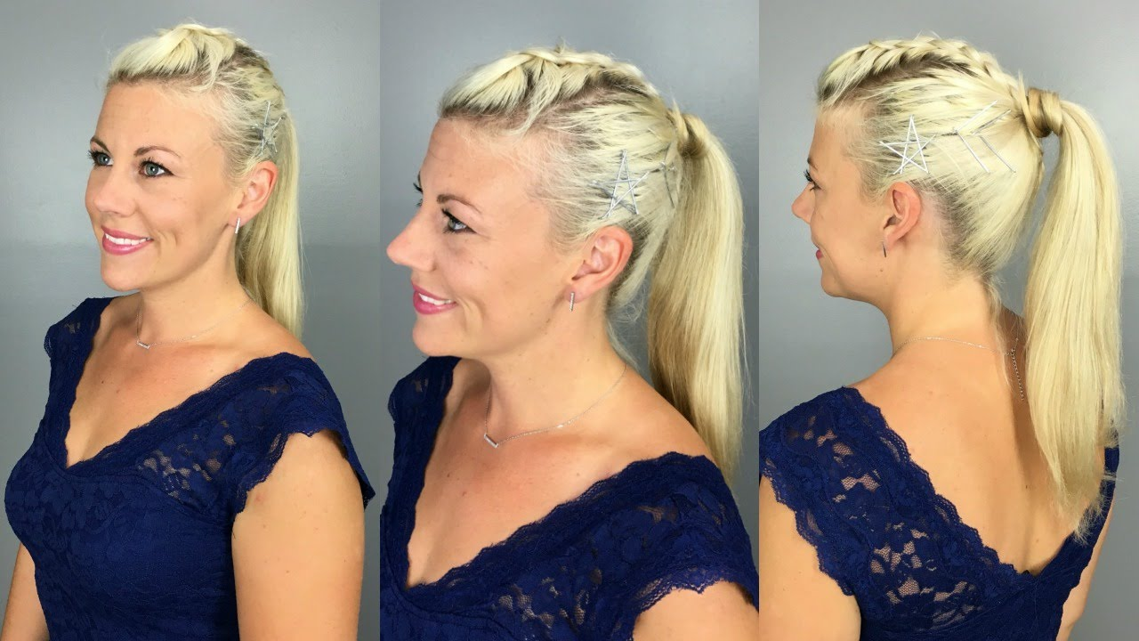 dutch mohawk ponytail + bobby pin star accent - youtube