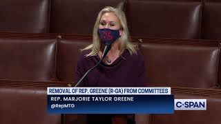 Rep. marjorie taylor greene (r-ga) delivers remarks on the house floor leading up to vote removing her from committee assignments.discover c...