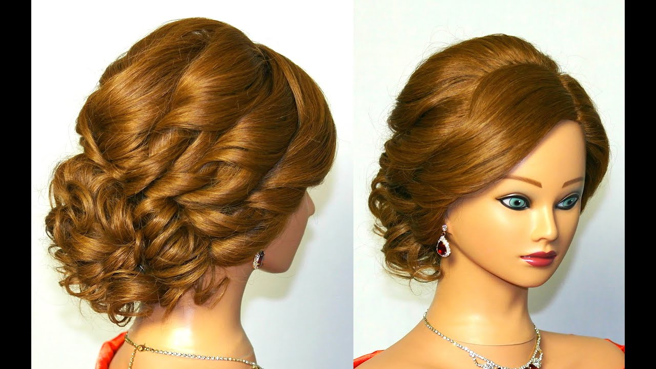 Hair Style Up For Wedding: Bridal Curly Updo. Hairstyle For Medium Hair.