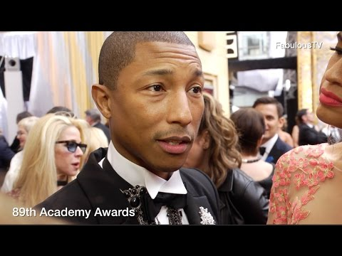 Pharrell Williams & producing partner 'Mimi Valdes' at Oscars 2017 89th Academy Awards red carpet on