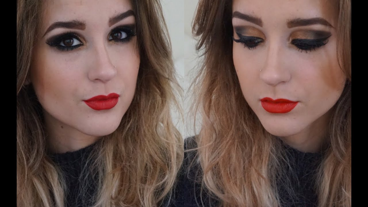 Gold Smokey Eye And Red Lip Makeup Tutorial Full Face Party Wear