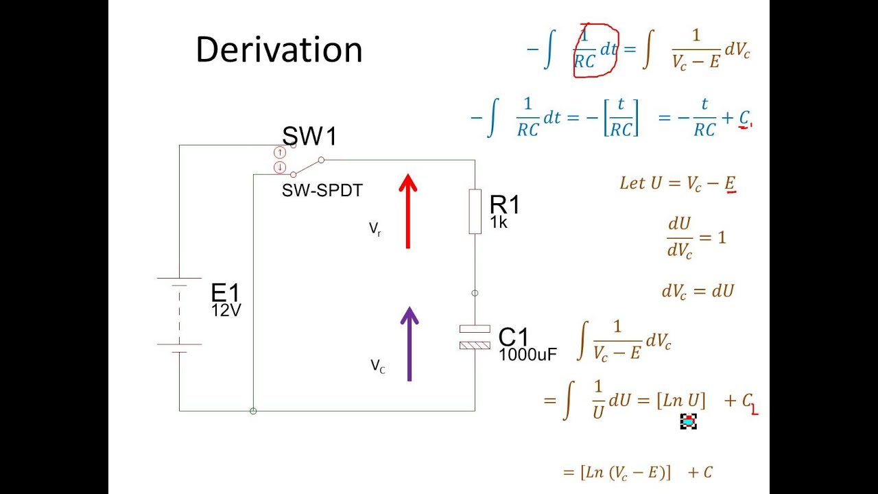 charging discharging capacitor equation