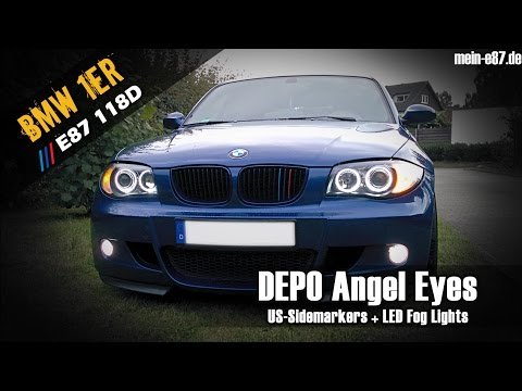 bmw 1er e87 welcome lights depo angel eyes youtube. Black Bedroom Furniture Sets. Home Design Ideas