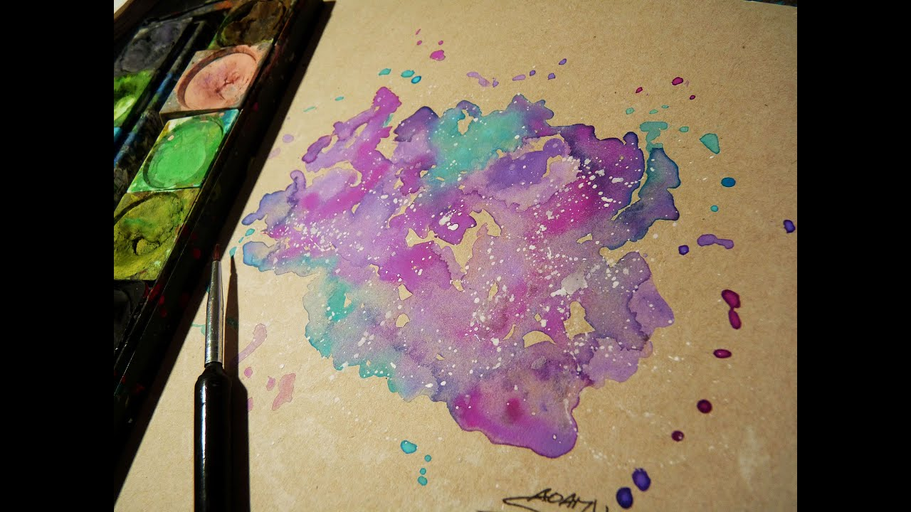 How i paint galaxy with watercolor easy youtube for How to paint galaxy