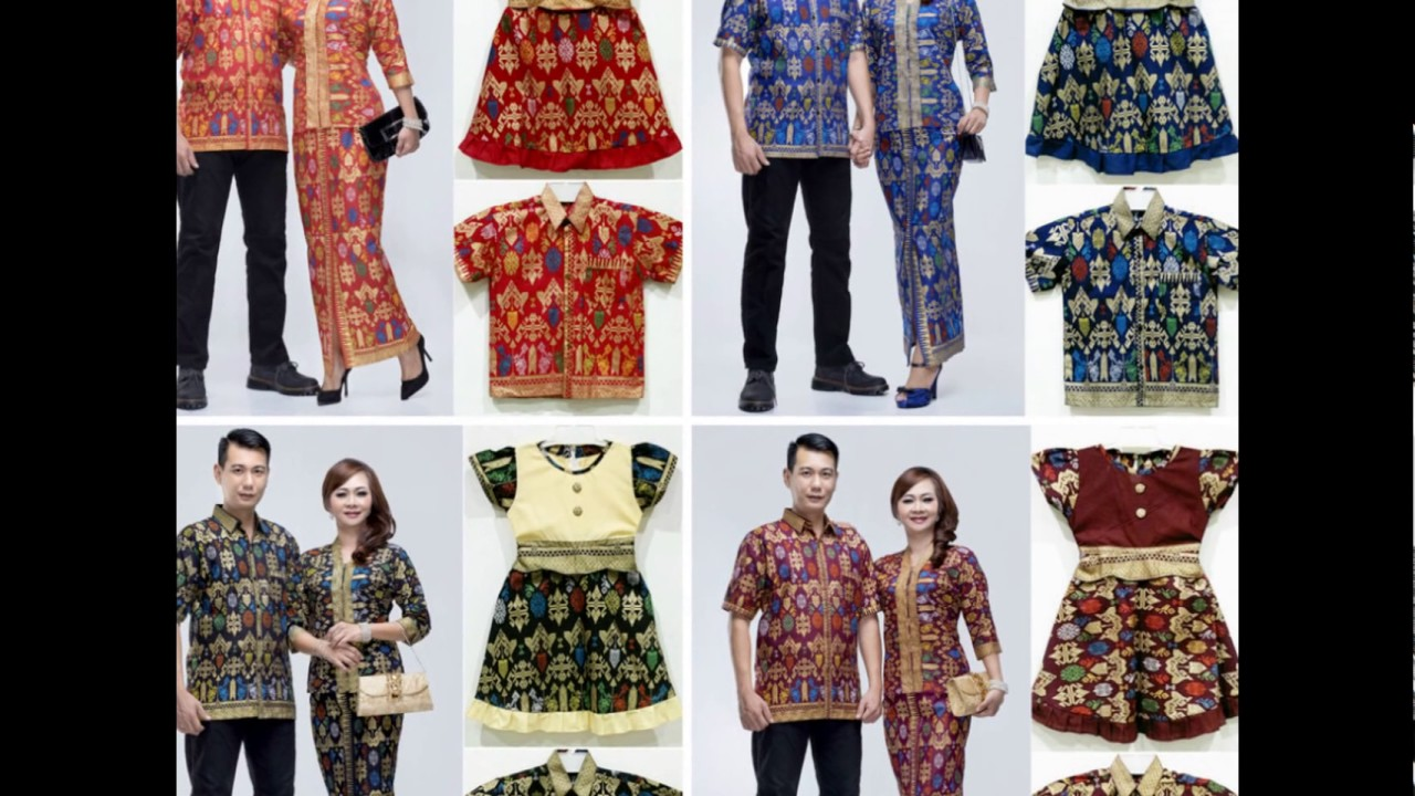 Model Baju Batik Seragam Couple Keluarga Kombinasi Polos Modern Terbaru 2017