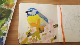Sketchbook, Painting a bird in Gouache