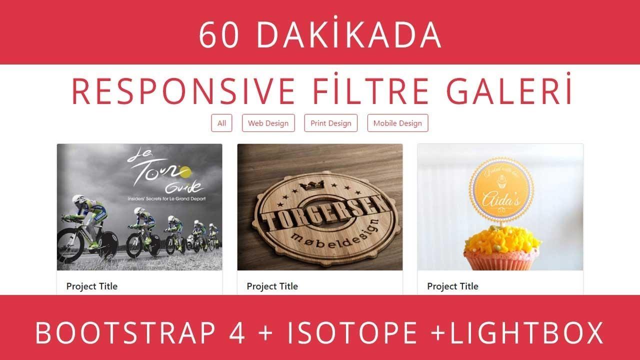 Responsive Filtre Galeri Yapımı: Bootstrap 4 + Isotope js + Lightbox