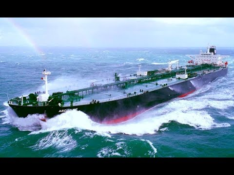 Big Oil Tanker Ships Passed Waves In Huge Storm