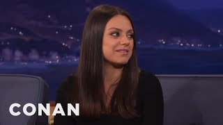 Mila Kunis Doesn't Tell Ashton Kutcher About Her Love Scenes  - CONAN on TBS