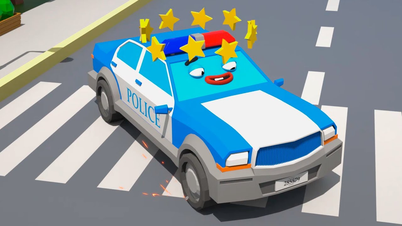 O Carro de Polícia com soluço - Desenhos animados para crianças
