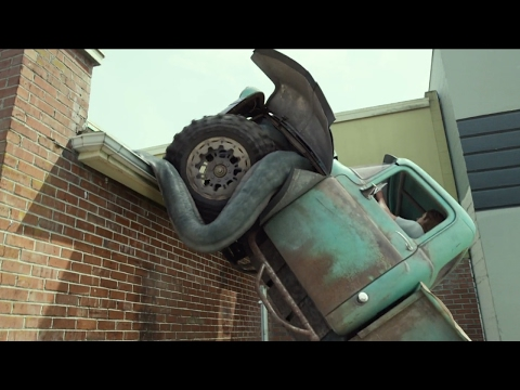 MONSTER TRUCK CHASE SCENE | DRIVING MONSTER TRUCK ON ROOFTOP SCENE FROM MONSTER TRUCKS IN REVERSE